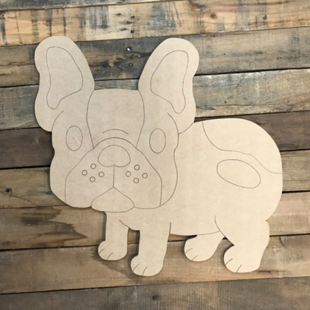 French Bulldog DIY, Unfinished Wooden, Paint by Line