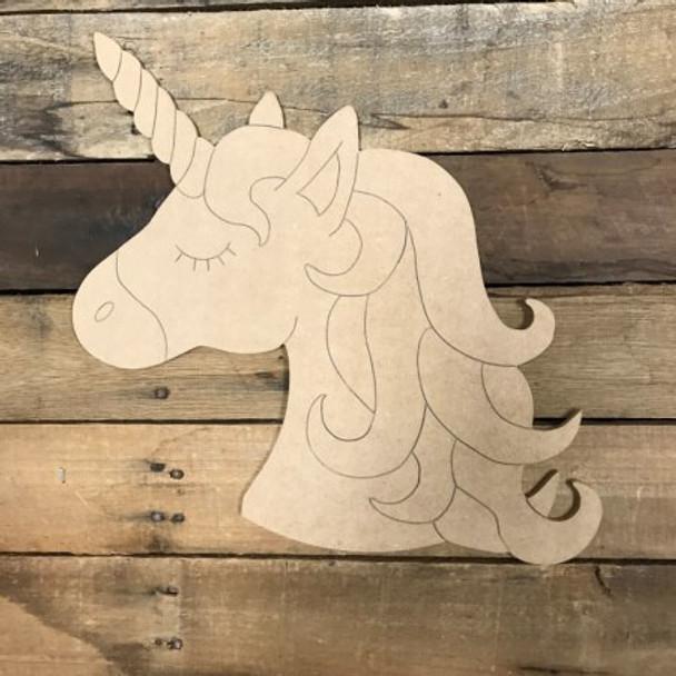 Unicorn Head Unfinished Wooden Cutout Craft