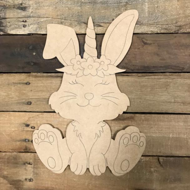 Bunny Unicorn, Unfinished Wood Shape, Paint by Line
