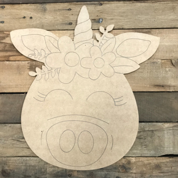 Piggycorn, Unfinished Wooden Cutout Craft, Paint by Line