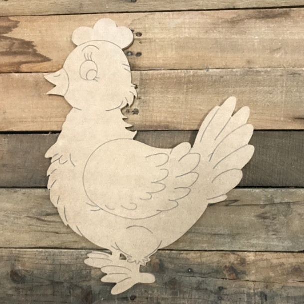 Walking Hen, Unfinished Wooden Cutout Craft, Paint by Line