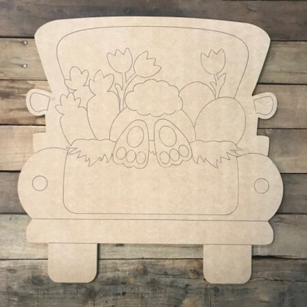 Easter Truck DIY Unfinished Wood Cutout