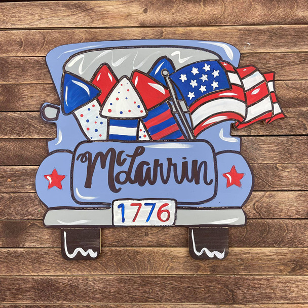 4th of July Truck DIY, Unfinished Wood Cutout, Paint by Line