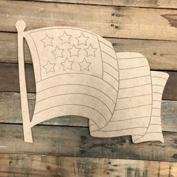 American Flag DIY, Unfinished Wood Cutout, Paint by Line
