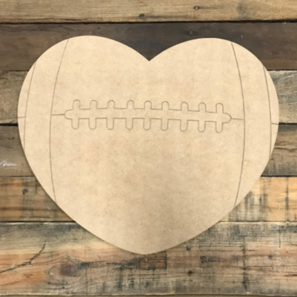 Football Heart, Unfinished Wooden Cutout Craft, Paint by Line
