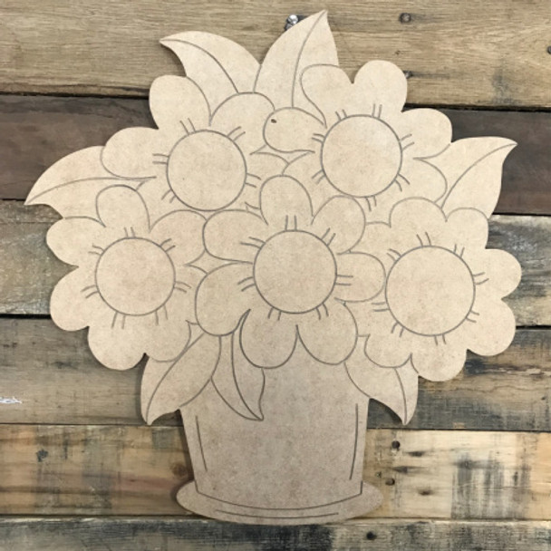 Bunch of Flowers in Pot DIY, Unfinished Wood Cutout, Paint by Line