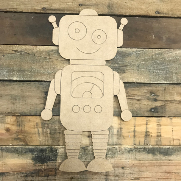 Happy Robot, Unfinished Wooden Cutout Craft, Paint by Line