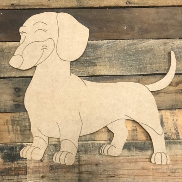 Weenie Dog, Unfinished Wooden Cutout Craft, Paint by Line