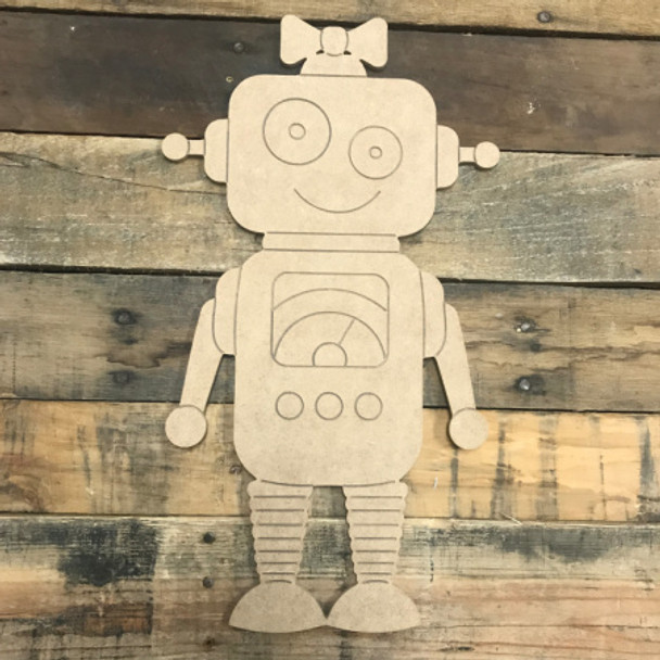Girl Robot, Unfinished Wooden Cutout Craft, Paint by Line