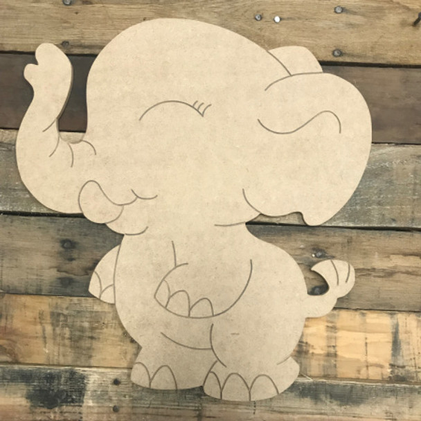 Cartoon Elephant, Unfinished Wooden Cutout Craft, Paint by Line