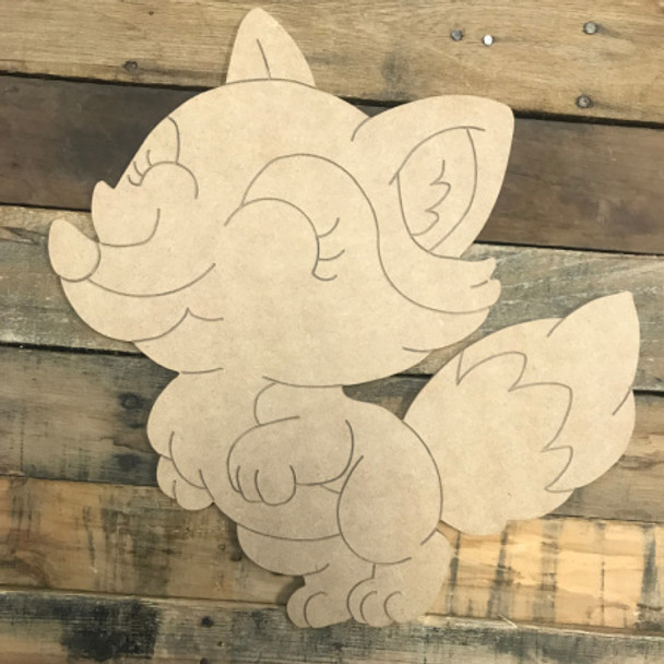 Cartoon Fox, Unfinished Wooden Cutout Craft, Paint by Line