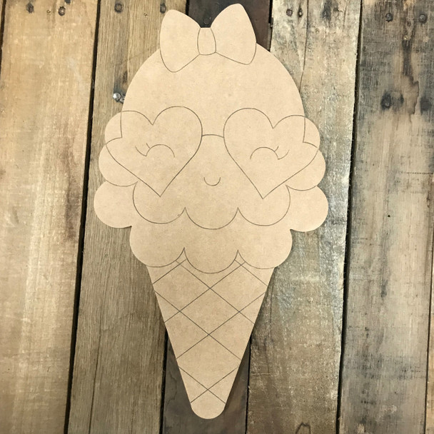 Happy Ice Cream Cone, Unfinished Wooden Cutout Craft, Paint by Line