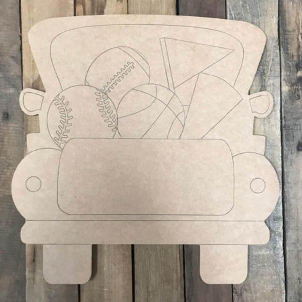Sports Truck, Unfinished Wood Cutout, Paint by Line