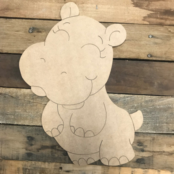 Baby Hippo, Unfinished Wooden Cutout Craft, Paint by Line