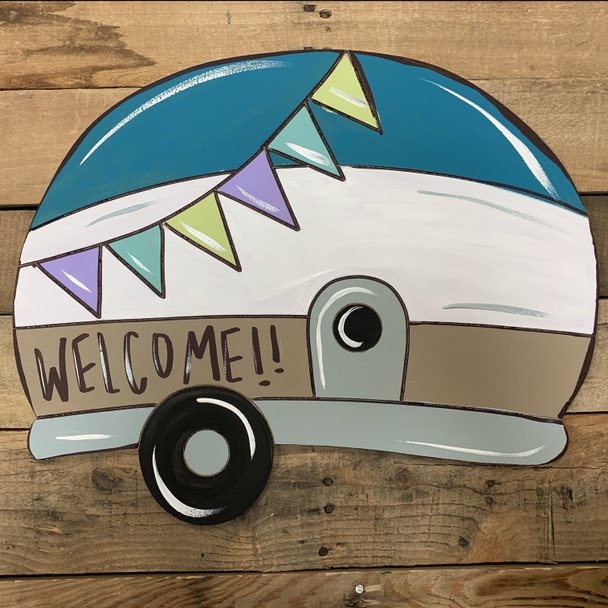 Camper with Flags, Unfinished Wooden Cutout Craft, Paint by Line