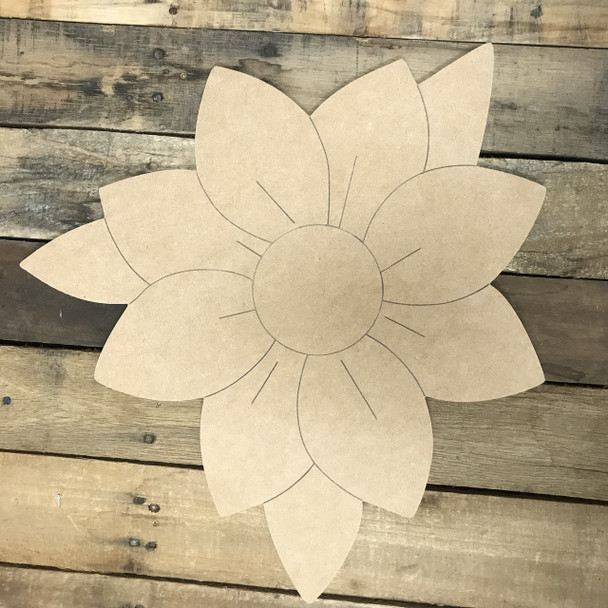 Magnolia, Unfinished Wooden Cutout Craft, Paint by Line
