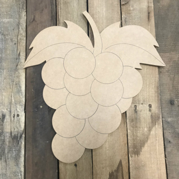 Grapes, Unfinished Wooden Cutout Craft, Paint by Line