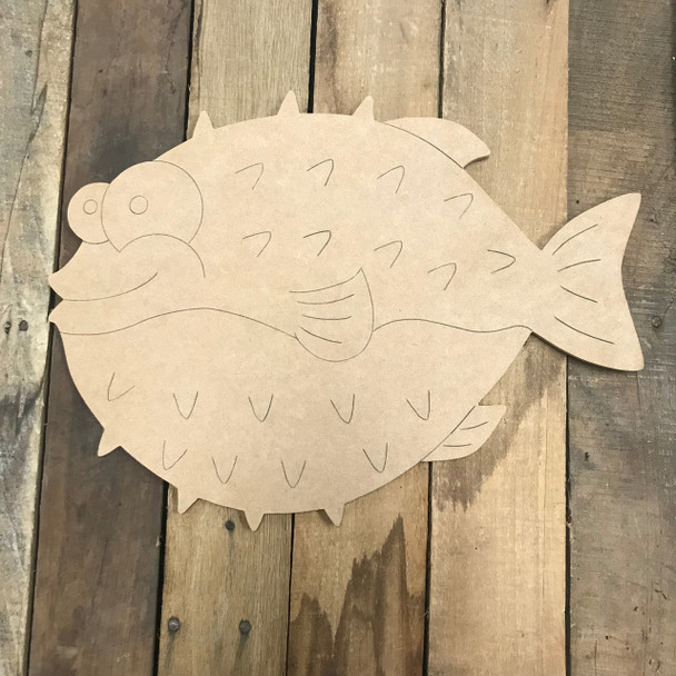 Blowfish, Unfinished Wooden Cutout Craft, Paint by Line