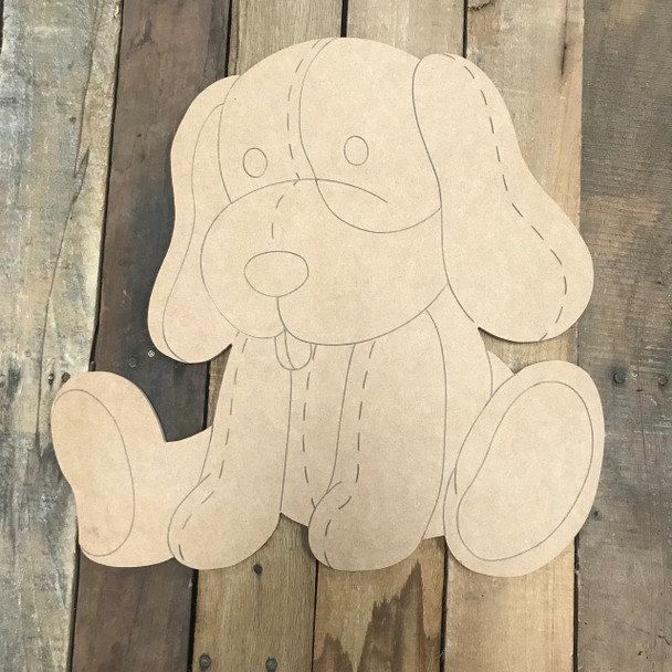 Puppy Dog, Unfinished Wooden Cutout Craft, Paint by Line