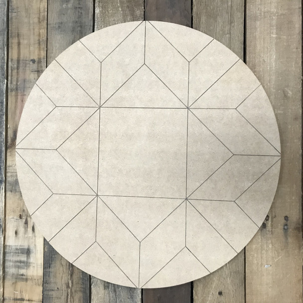 Circle Quilt Boho Pattern 8 DIY, Unfinished Wood Cutout, Paint by Line
