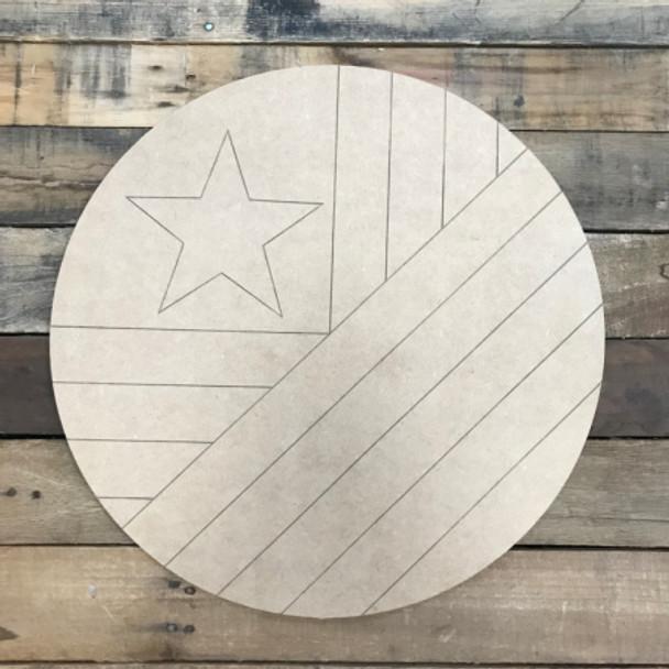 American Flag Circle Quilt Boho Pattern 9 DIY, Unfinished Wood Cutout