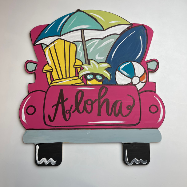 Beach Truck, Unfinished Wood Cutout, Paint by Line