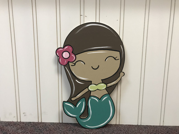 Mermaid, Unfinished Wooden Cutout Craft, Paint by Line