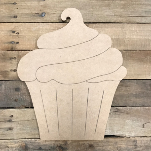 Cupcake, Unfinished Wooden Cutout Craft, Paint by Line