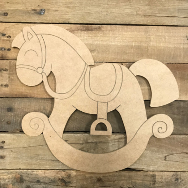 Riding Horsey, Unfinished Wooden Cutout Craft, Paint by Line
