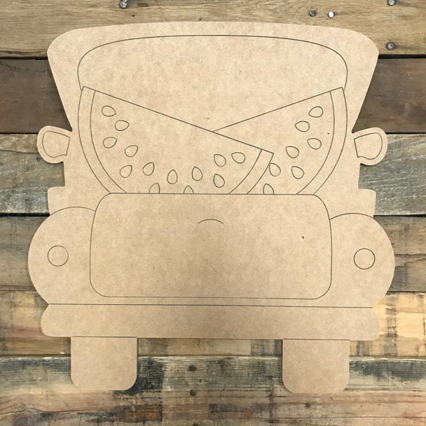 Watermelon Truck, Unfinished Wood Cutout, Paint by Line