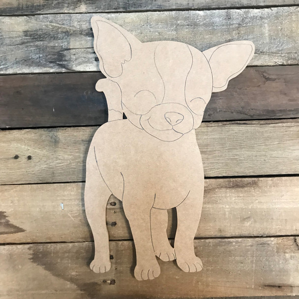 Chihuahua, Unfinished Wooden Craft, Paint by Line