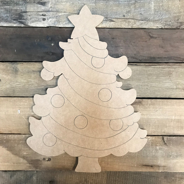 Christmas Tree, Unfinished Wood Cutout, Paint by Line