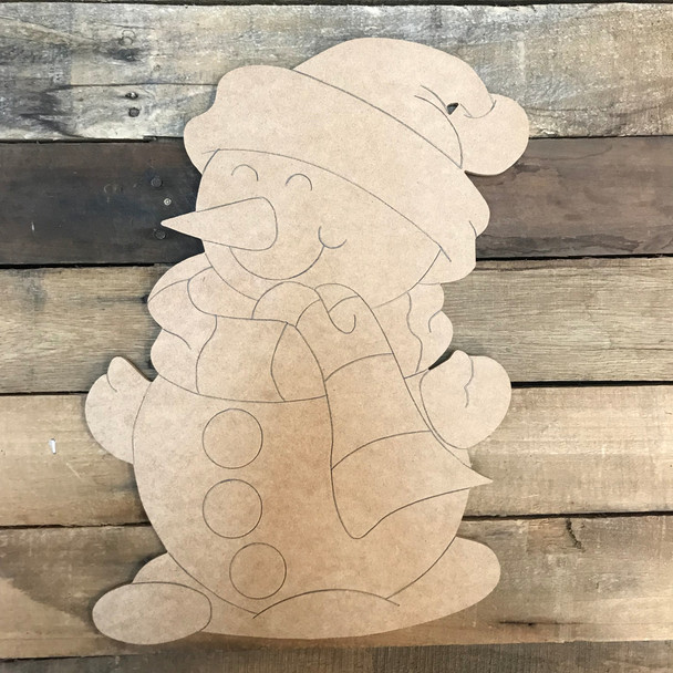 Snowman, Unfinished Wood Cutout, Paint by Line