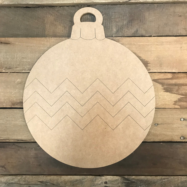Ornament with Zig Zags, Unfinished Wooden Craft, Paint by Line