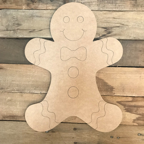 Gingerbread Man, Unfinished Wooden Craft, Paint by Line