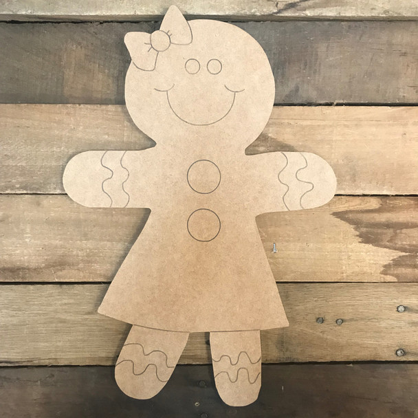 Gingerbread Girl, Unfinished Wooden Craft, Paint by Line