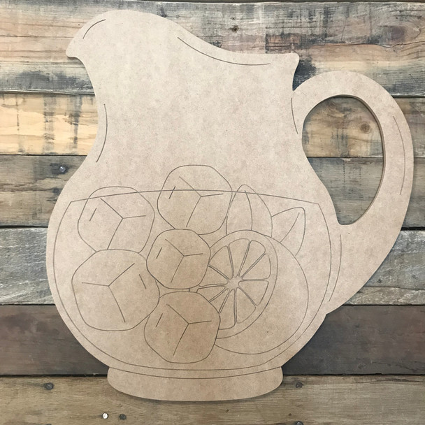Pitcher with Ice, Unfinished Wooden Craft, Paint by Line