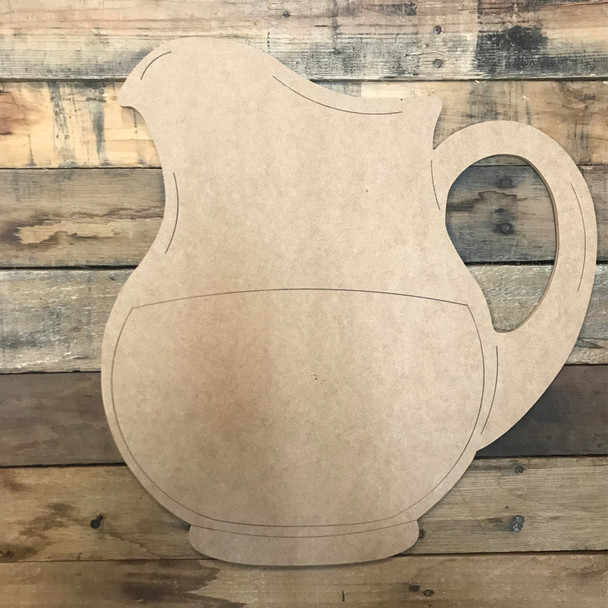 Pitcher, Unfinished Wooden Craft, Paint by Line
