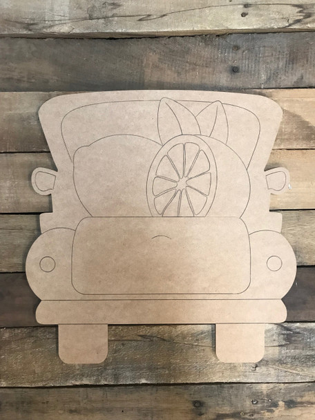 Lemon Truck, Unfinished Wood Cutout, Paint by Line