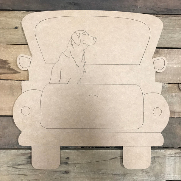 Lab Truck, Unfinished Craft, Paint by Line