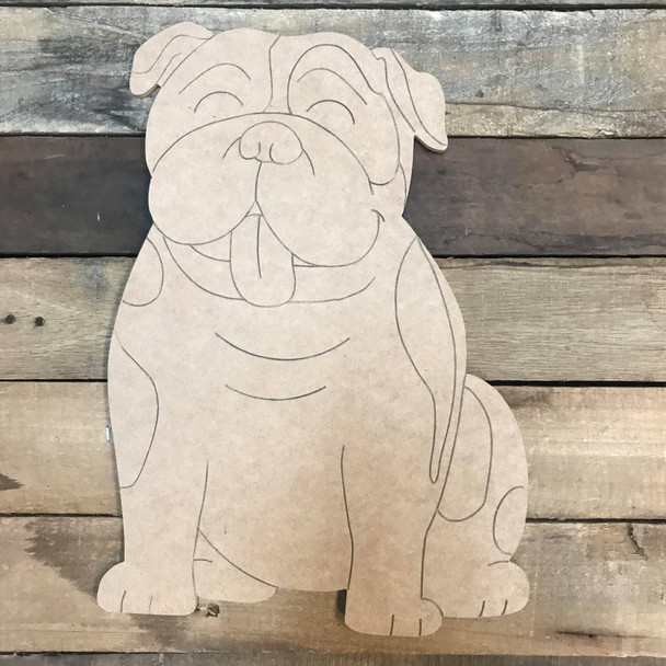 Bulldog, Unfinished Craft, Paint by Line
