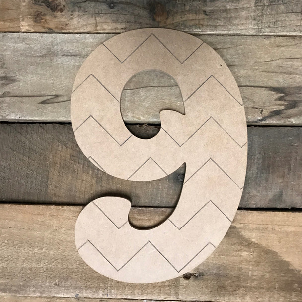 Wood Beltorian Chevron Numbers, Unfinished Paint by Line