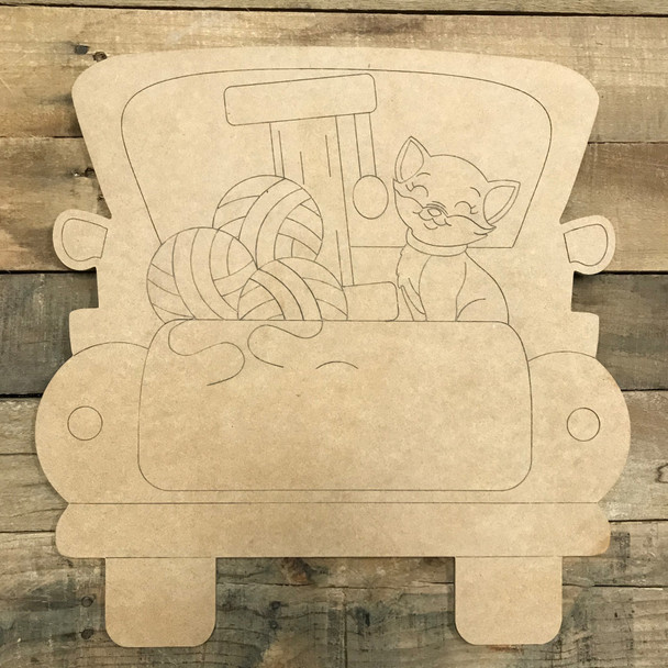 Cat Truck, Wooden Paintable Unfinished Craft, Paint by Line