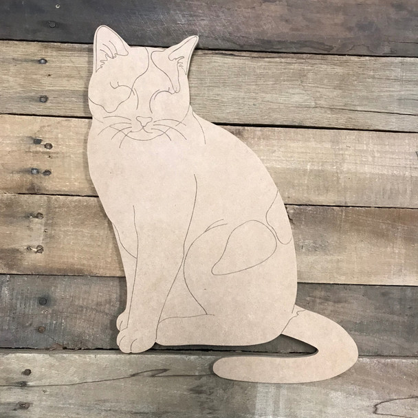 Cat Wood Cutout, Unfinished Craft, Paint by Line