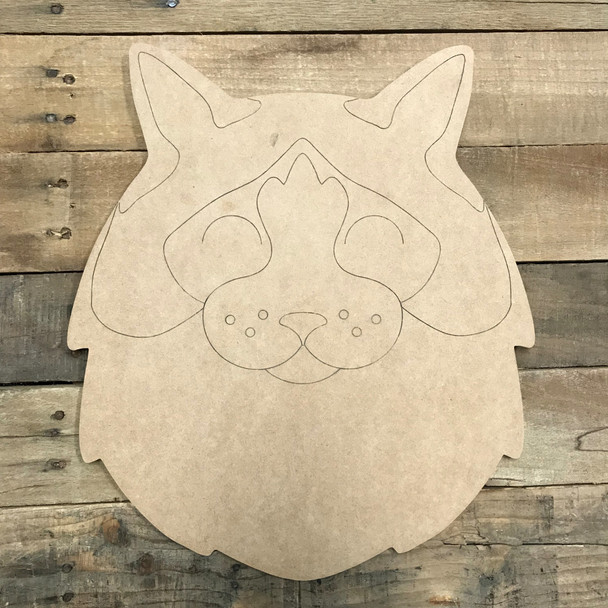 Fat Cat Head Wood Cutout, Unfinished Craft, Paint by Line