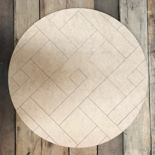 Stitched Circle Quilt Boho, Wooden Paintable, Paint by Line