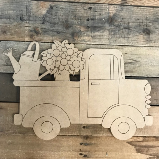 Truck with Flowers and Flower Pot Cutout, Unfinished, Paint by Line