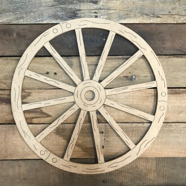 Wagon Wheel Cutout, Unfinished, Paint by Line