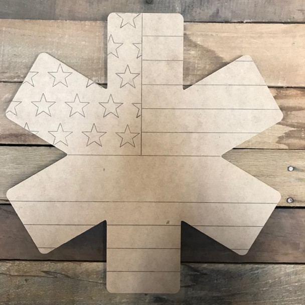 Blue Line Star or Life Badge Cutout, Wooden Paintable, Paint by Line