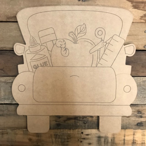 Back to School Truck Cutout, Wooden Paint-able, Paint by Line